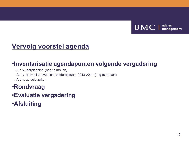 10 Vervolg voorstel agenda Inventarisatie agendapunten volgende vergadering –A.d.v. jaarplanning (nog te maken) –A.d.v. activiteitenoverzicht pastoraa