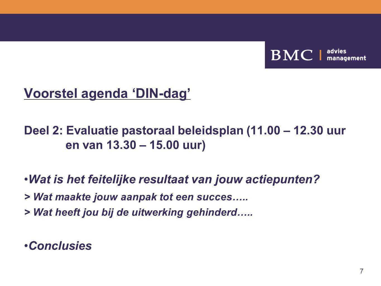 7 Voorstel agenda 'DIN-dag' Deel 2: Evaluatie pastoraal beleidsplan (11.00 – 12.30 uur en van 13.30 – 15.00 uur) Wat is het feitelijke resultaat van jouw actiepunten.