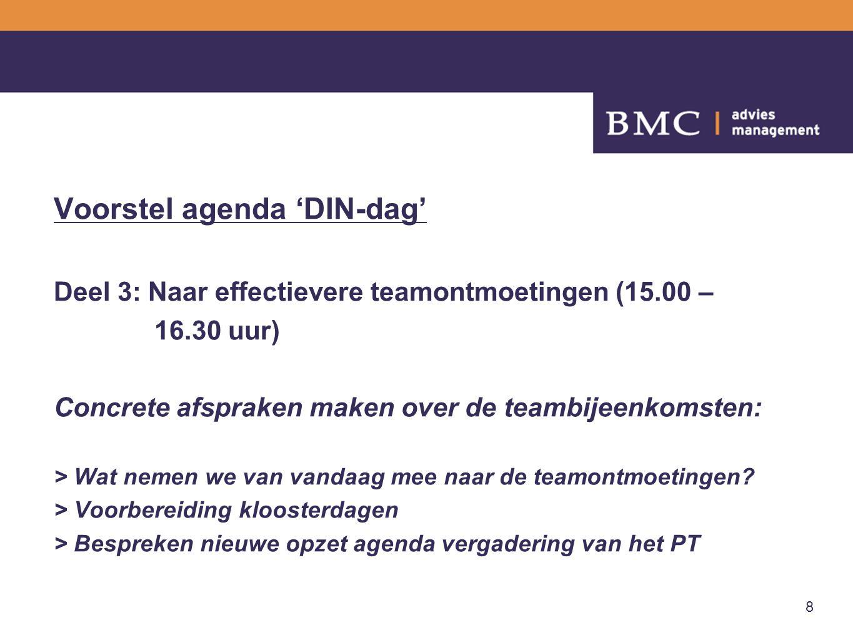 8 Voorstel agenda 'DIN-dag' Deel 3: Naar effectievere teamontmoetingen (15.00 – 16.30 uur) Concrete afspraken maken over de teambijeenkomsten: > Wat n