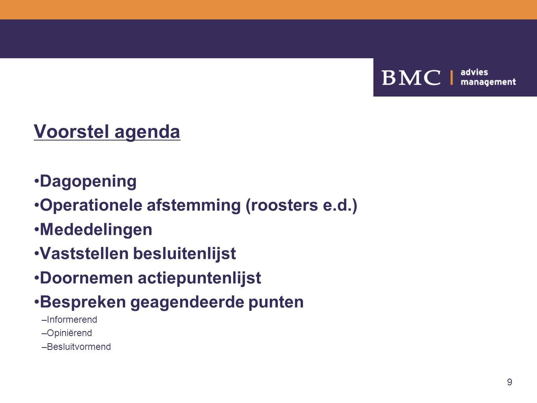 9 Voorstel agenda Dagopening Operationele afstemming (roosters e.d.) Mededelingen Vaststellen besluitenlijst Doornemen actiepuntenlijst Bespreken geag