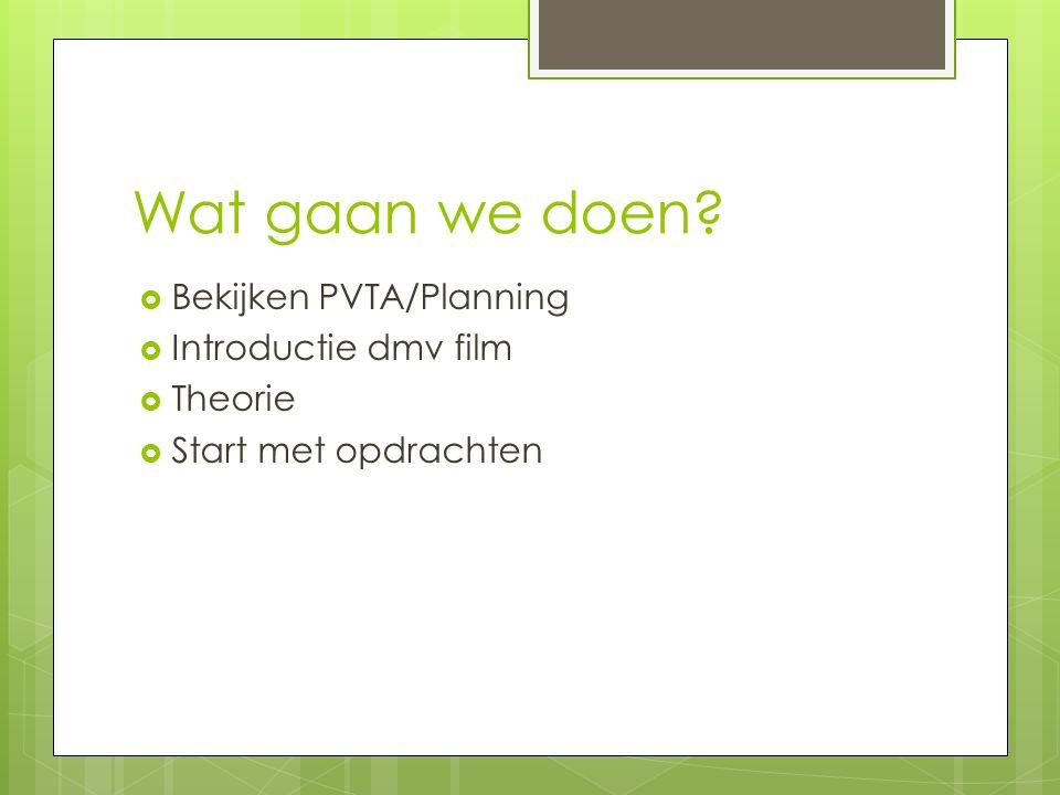 Wat gaan we doen  Bekijken PVTA/Planning  Introductie dmv film  Theorie  Start met opdrachten