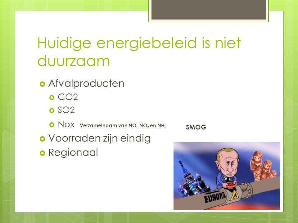  Afvalproducten  CO2  SO2  Nox Verzamelnaam van NO, NO 2 en NH 3 SMOG  Voorraden zijn eindig  Regionaal