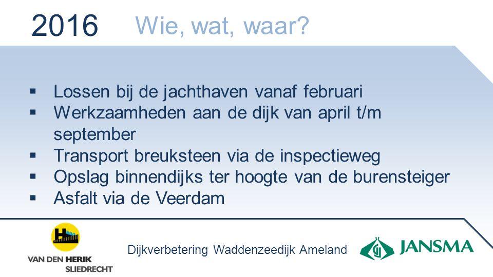  Lossen bij de jachthaven vanaf februari  Werkzaamheden aan de dijk van april t/m september  Transport breuksteen via de inspectieweg  Opslag binn