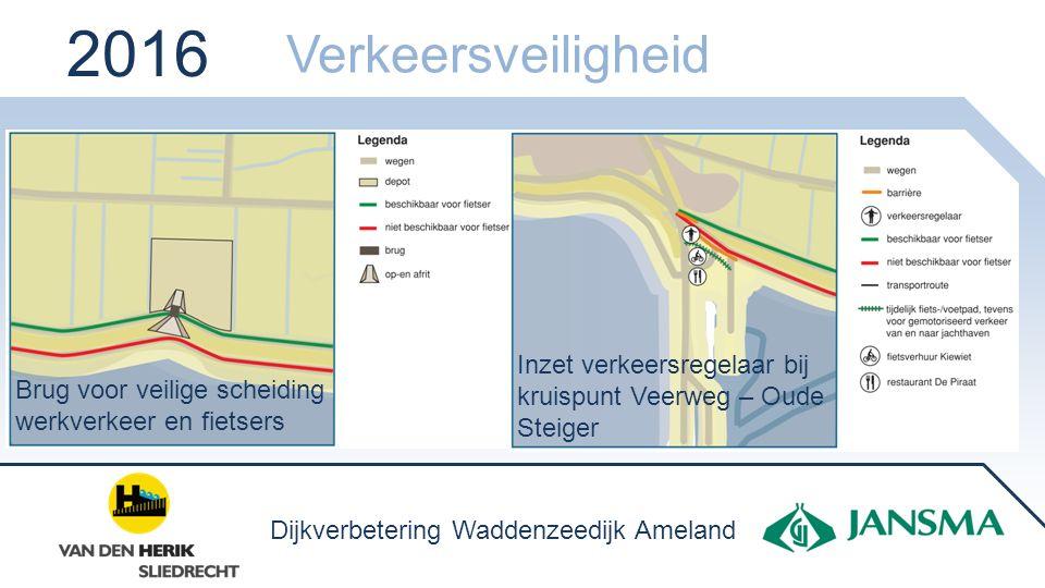 Brug voor veilige scheiding werkverkeer en fietsers Inzet verkeersregelaar bij kruispunt Veerweg – Oude Steiger 2016 Verkeersveiligheid Dijkverbeterin