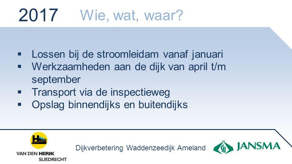 Lossen bij de stroomleidam vanaf januari  Werkzaamheden aan de dijk van april t/m september  Transport via de inspectieweg  Opslag binnendijks en