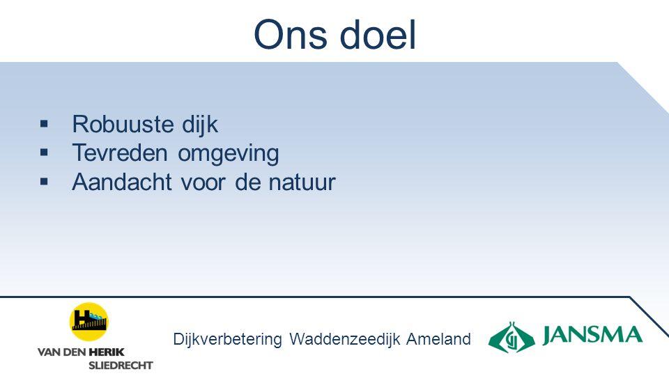 Ons doel  Robuuste dijk  Tevreden omgeving  Aandacht voor de natuur Dijkverbetering Waddenzeedijk Ameland