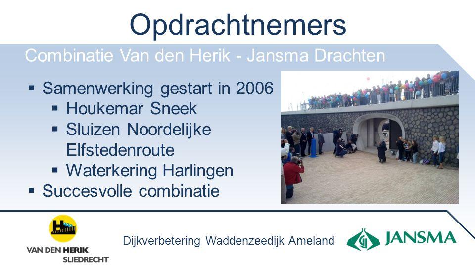 Opdrachtnemers Combinatie Van den Herik - Jansma Drachten  Samenwerking gestart in 2006  Houkemar Sneek  Sluizen Noordelijke Elfstedenroute  Water