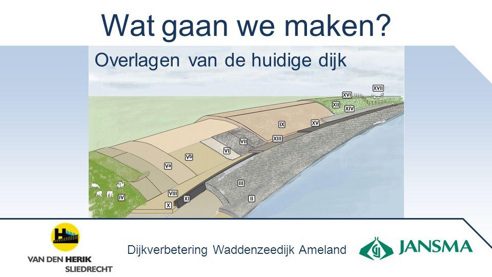 Wat gaan we maken? Overlagen van de huidige dijk Dijkverbetering Waddenzeedijk Ameland