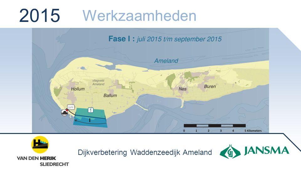 2015  Lossen bij het Borndiep  Transport via de inspectieweg  Opslag op het strand Het strand ten westen van onze opslag blijft toegankelijk.
