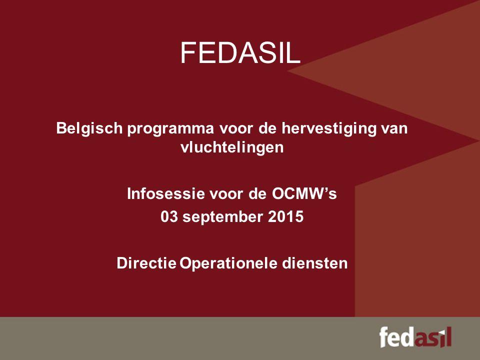 FEDASIL Belgisch programma voor de hervestiging van vluchtelingen Infosessie voor de OCMW's 03 september 2015 Directie Operationele diensten
