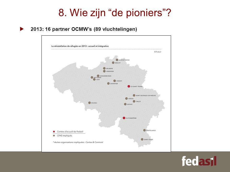 8. Wie zijn de pioniers  2013: 16 partner OCMW's (89 vluchtelingen)
