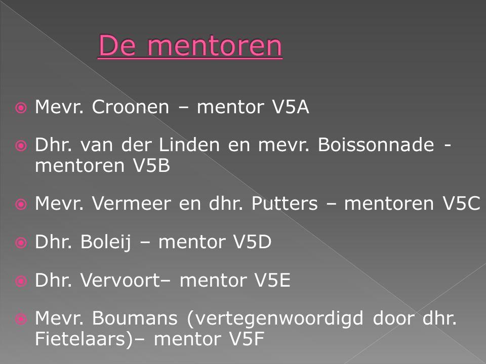  Mevr. Croonen – mentor V5A  Dhr. van der Linden en mevr.