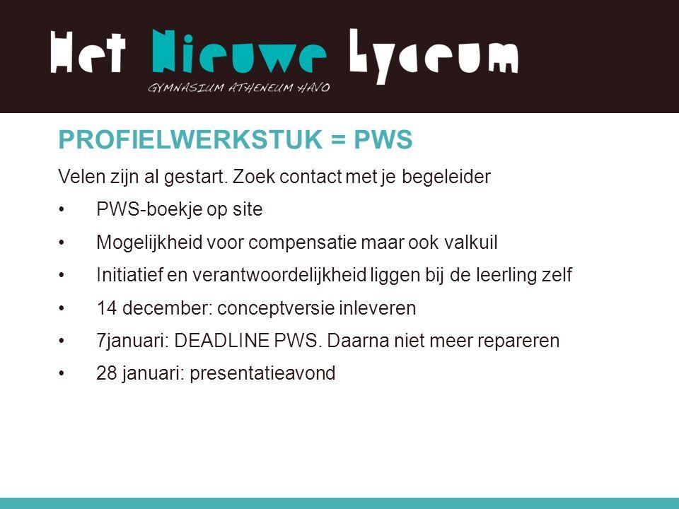 PROFIELWERKSTUK = PWS Velen zijn al gestart.