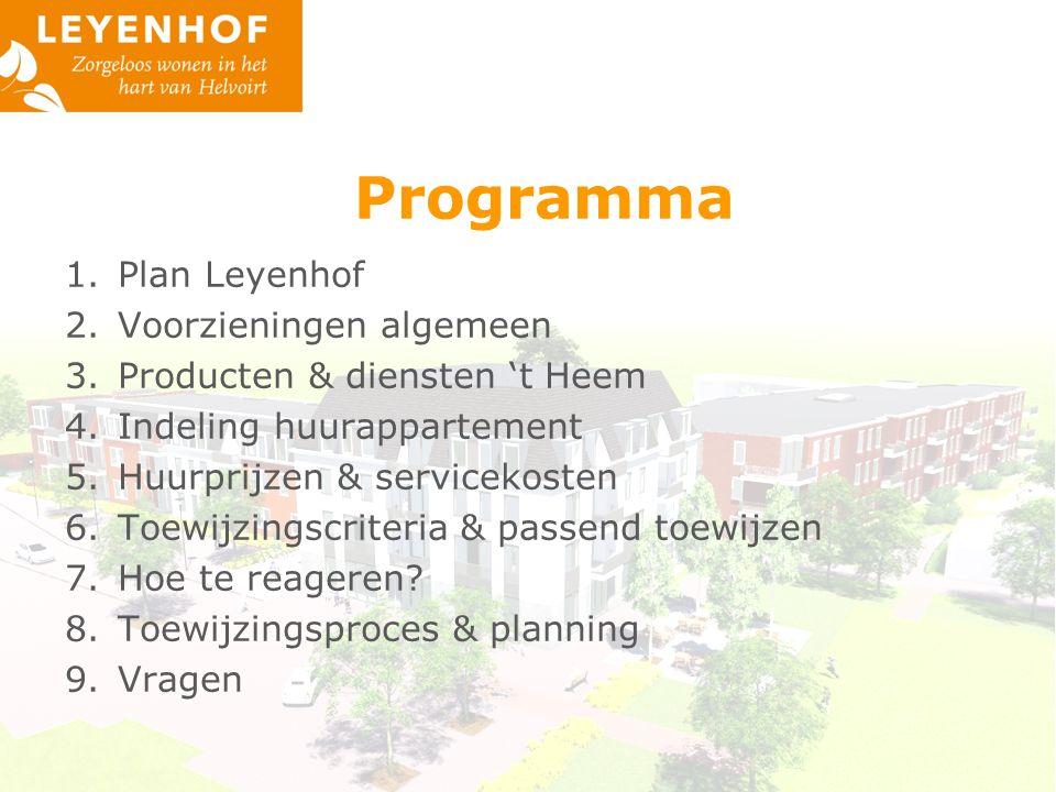 Programma 1.Plan Leyenhof 2.Voorzieningen algemeen 3.Producten & diensten 't Heem 4.Indeling huurappartement 5.Huurprijzen & servicekosten 6.Toewijzingscriteria & passend toewijzen 7.Hoe te reageren.