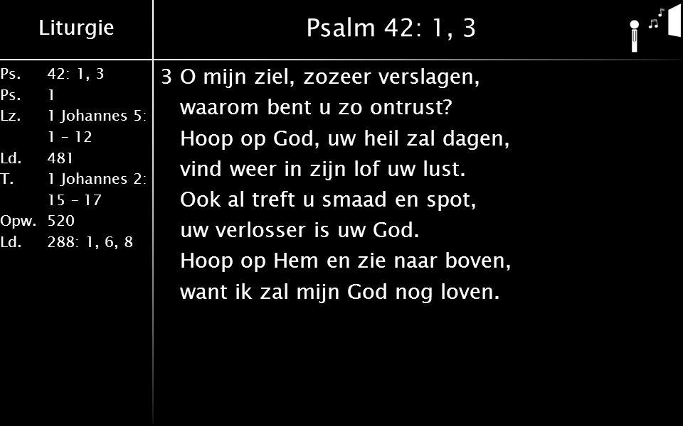 Liturgie Ps.42: 1, 3 Ps. 1 Lz. 1 Johannes 5: 1 – 12 Ld. 481 T.1 Johannes 2: 15 – 17 Opw. 520 Ld. 288: 1, 6, 8 Psalm 42: 1, 3 3O mijn ziel, zozeer vers