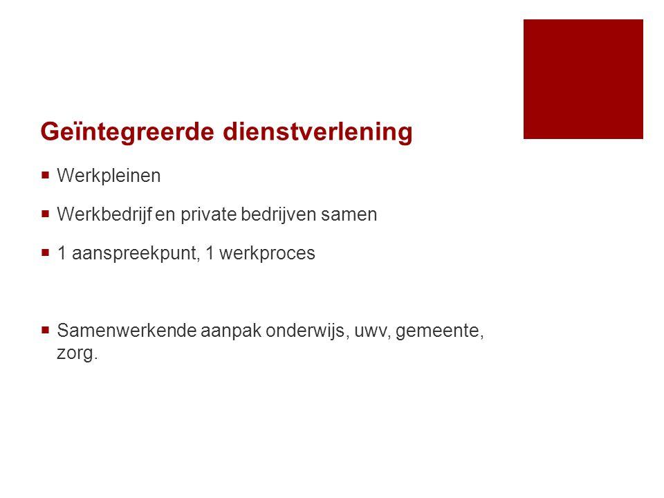 Geïntegreerde dienstverlening  Werkpleinen  Werkbedrijf en private bedrijven samen  1 aanspreekpunt, 1 werkproces  Samenwerkende aanpak onderwijs,