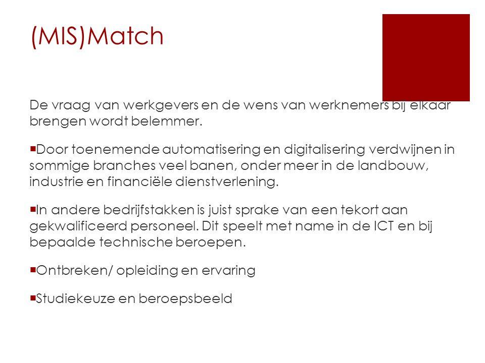 (MIS)Match De vraag van werkgevers en de wens van werknemers bij elkaar brengen wordt belemmer.  Door toenemende automatisering en digitalisering ver