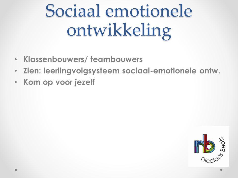 Sociaal emotionele ontwikkeling Klassenbouwers/ teambouwers Zien: leerlingvolgsysteem sociaal-emotionele ontw. Kom op voor jezelf