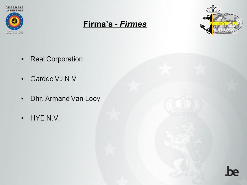 Real Corporation Gardec VJ N.V. Dhr. Armand Van Looy HYE N.V. Firma's - Firmes