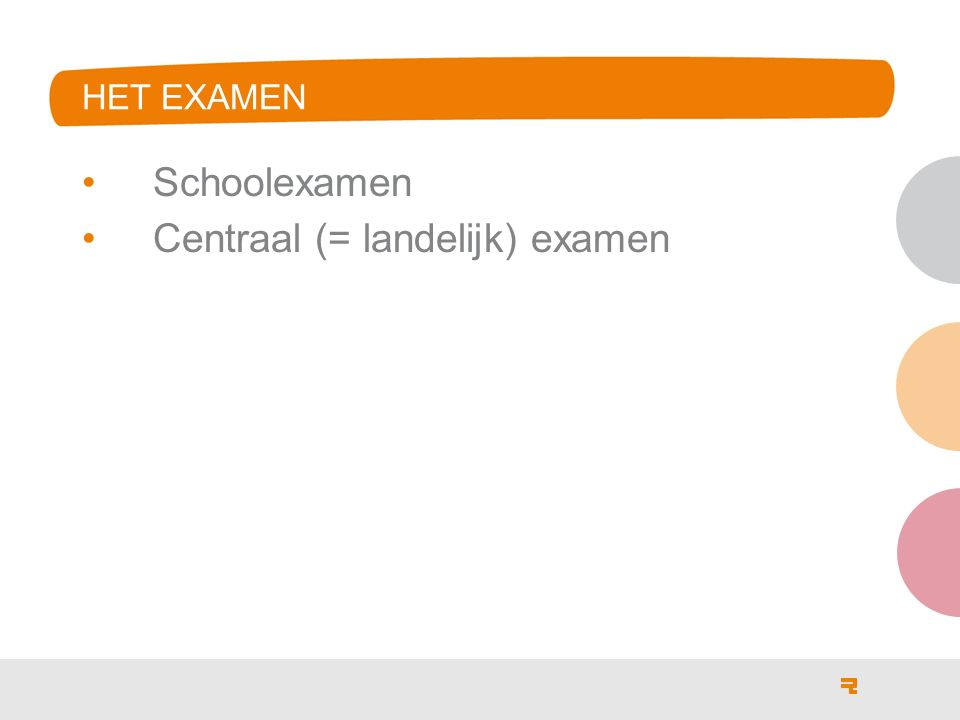 HET EXAMEN Schoolexamen Centraal (= landelijk) examen