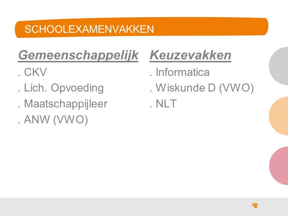 SCHOOLEXAMENVAKKEN Gemeenschappelijk. CKV. Lich.