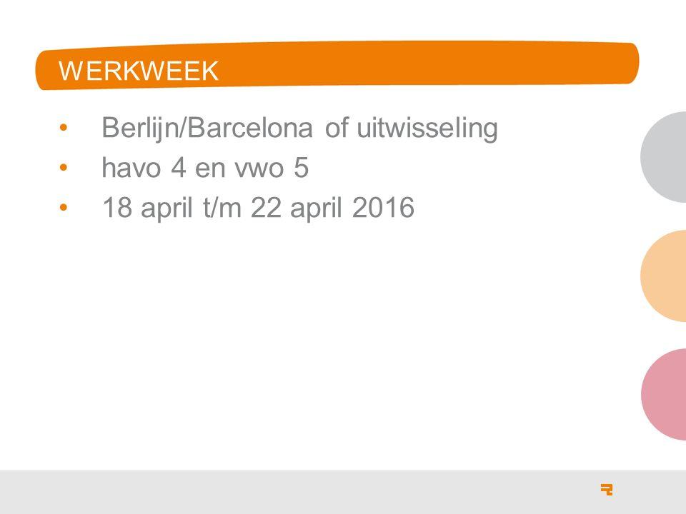 WERKWEEK Berlijn/Barcelona of uitwisseling havo 4 en vwo 5 18 april t/m 22 april 2016