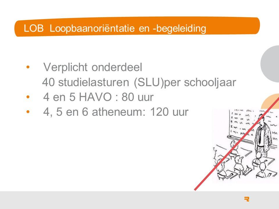 LOB Loopbaanoriëntatie en -begeleiding Verplicht onderdeel 40 studielasturen (SLU)per schooljaar 4 en 5 HAVO : 80 uur 4, 5 en 6 atheneum: 120 uur