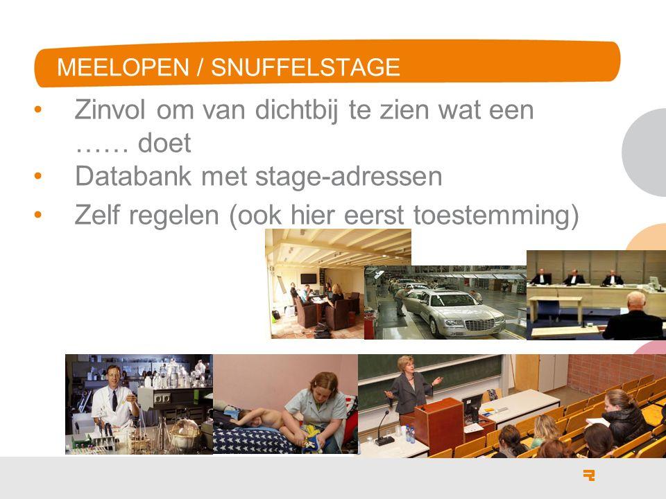 MEELOPEN / SNUFFELSTAGE Zinvol om van dichtbij te zien wat een …… doet Databank met stage-adressen Zelf regelen (ook hier eerst toestemming)