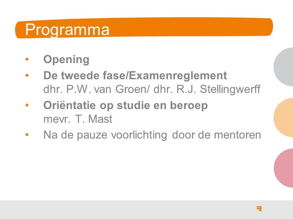 Programma Opening De tweede fase/Examenreglement dhr. P.W. van Groen/ dhr. R.J. Stellingwerff Oriëntatie op studie en beroep mevr. T. Mast Na de pauze