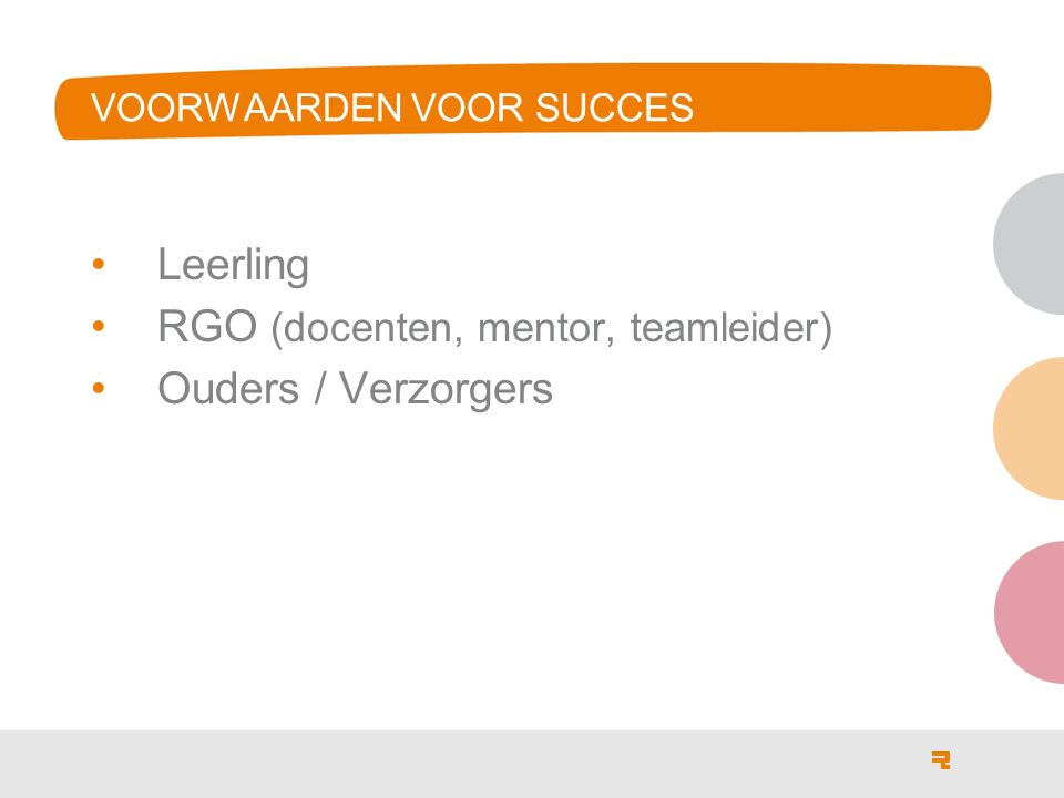 VOORWAARDEN VOOR SUCCES Leerling RGO (docenten, mentor, teamleider) Ouders / Verzorgers