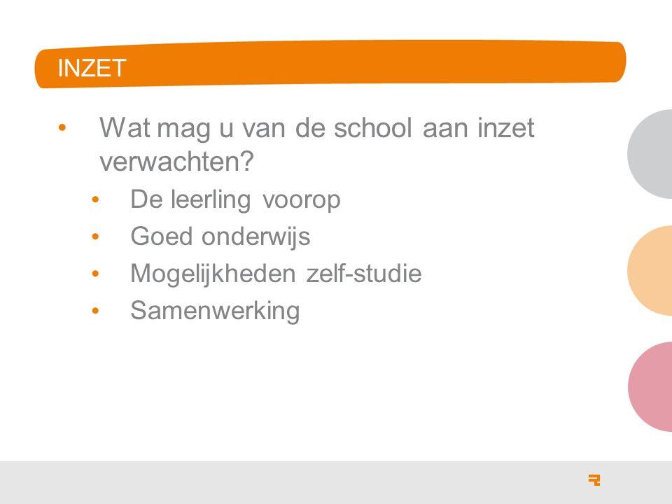 INZET Wat mag u van de school aan inzet verwachten? De leerling voorop Goed onderwijs Mogelijkheden zelf-studie Samenwerking