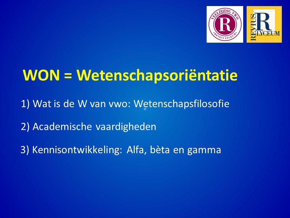 3) Kennisontwikkeling: Alfa, bèta en gamma 1) Wat is de W van vwo: Wetenschapsfilosofie 2) Academische vaardigheden WON = Wetenschapsoriëntatie