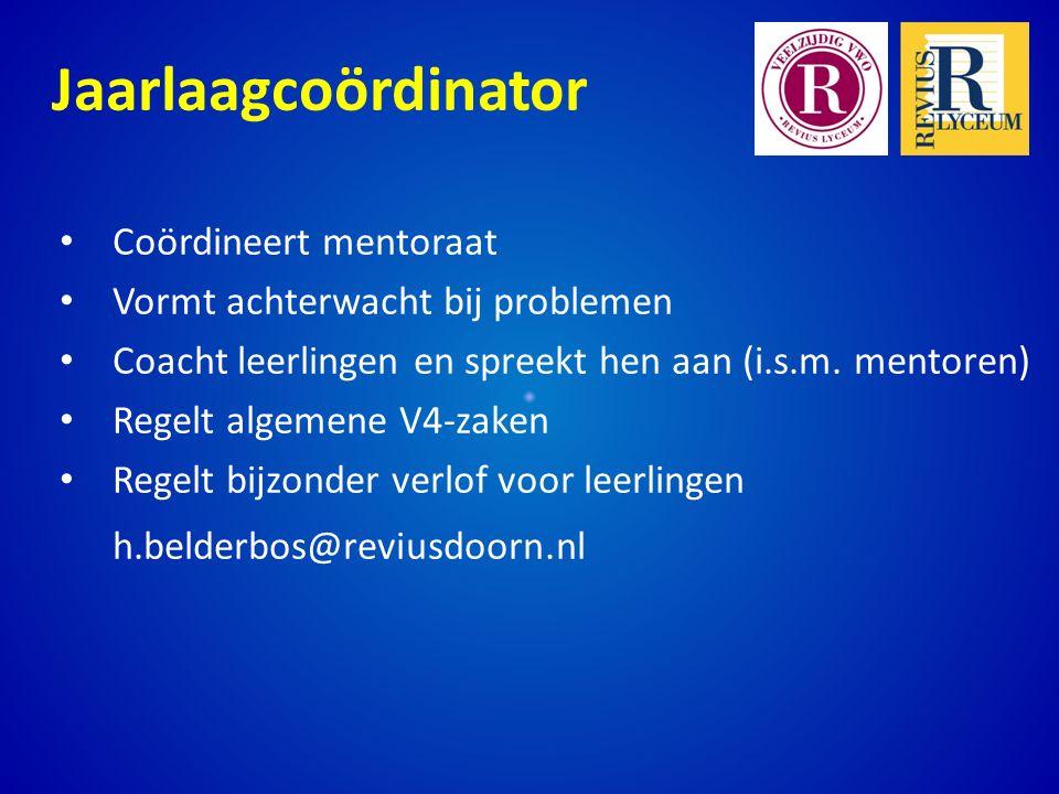 Jaarlaagcoördinator Coördineert mentoraat Vormt achterwacht bij problemen Coacht leerlingen en spreekt hen aan (i.s.m.