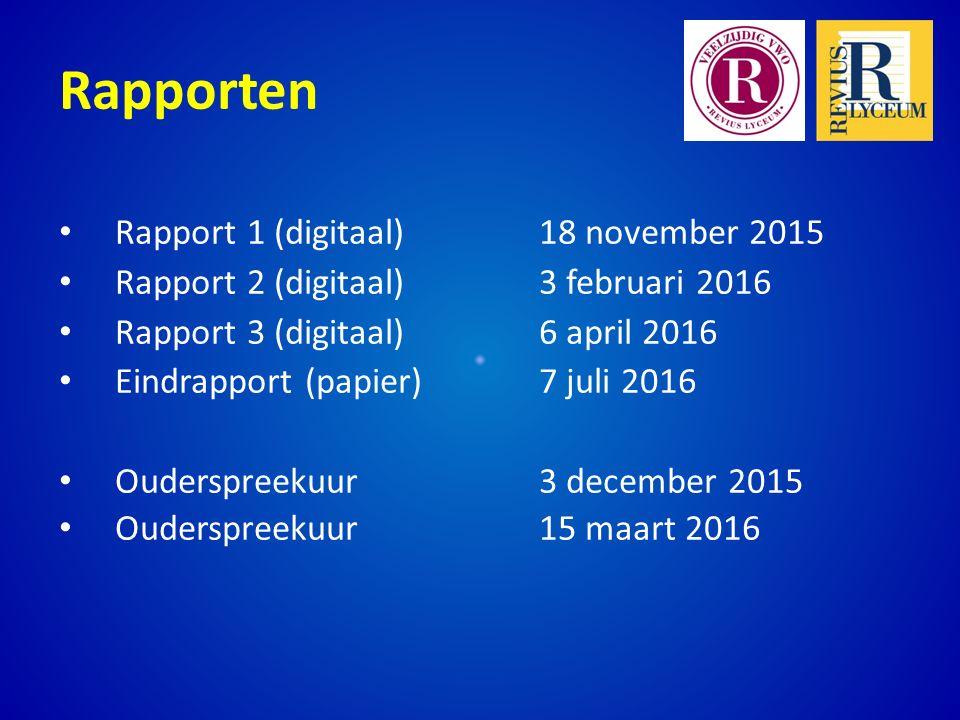 Rapporten Rapport 1 (digitaal) 18 november 2015 Rapport 2 (digitaal) 3 februari 2016 Rapport 3 (digitaal)6 april 2016 Eindrapport (papier)7 juli 2016 Ouderspreekuur3 december 2015 Ouderspreekuur15 maart 2016