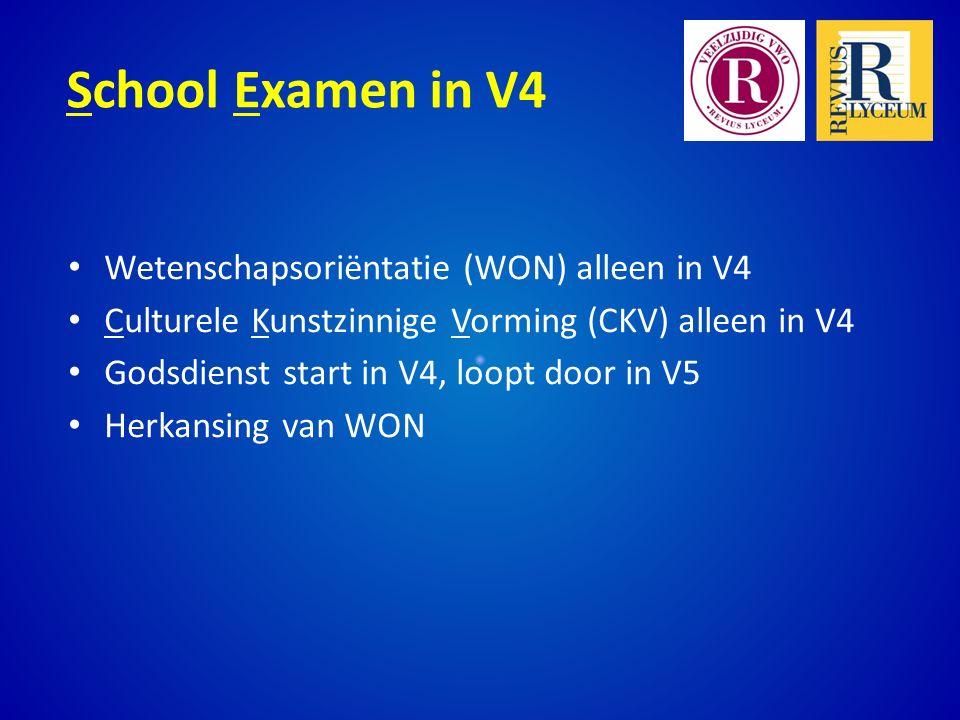 School Examen in V4 Wetenschapsoriëntatie (WON) alleen in V4 Culturele Kunstzinnige Vorming (CKV) alleen in V4 Godsdienst start in V4, loopt door in V5 Herkansing van WON