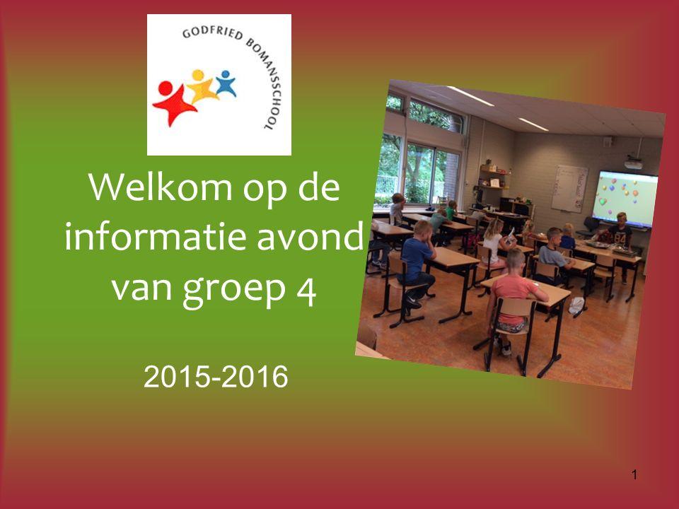 Welkom op de informatie avond van groep 4 2015-2016 1