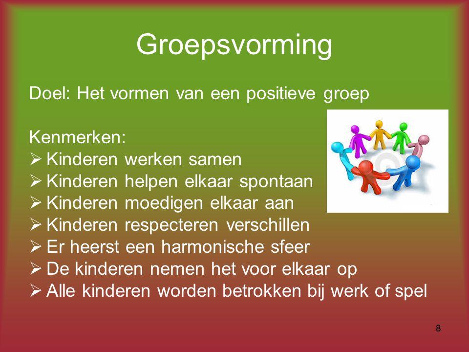 Groepsvorming Doel: Het vormen van een positieve groep Kenmerken:  Kinderen werken samen  Kinderen helpen elkaar spontaan  Kinderen moedigen elkaar