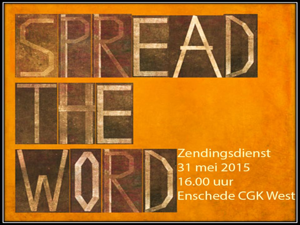 Broekheurnerstede Vanavond om 19.00 uur is er een evangelisatiedienst in Broekheurnerstede Spreker: W.