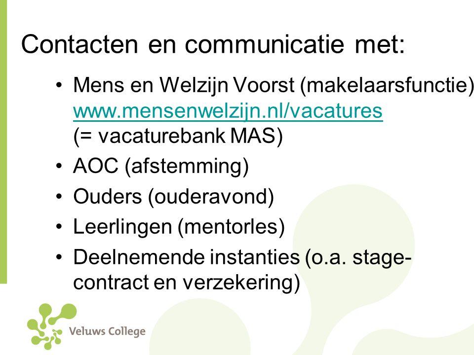 Contacten en communicatie met: Mens en Welzijn Voorst (makelaarsfunctie) www.mensenwelzijn.nl/vacatures (= vacaturebank MAS) www.mensenwelzijn.nl/vaca