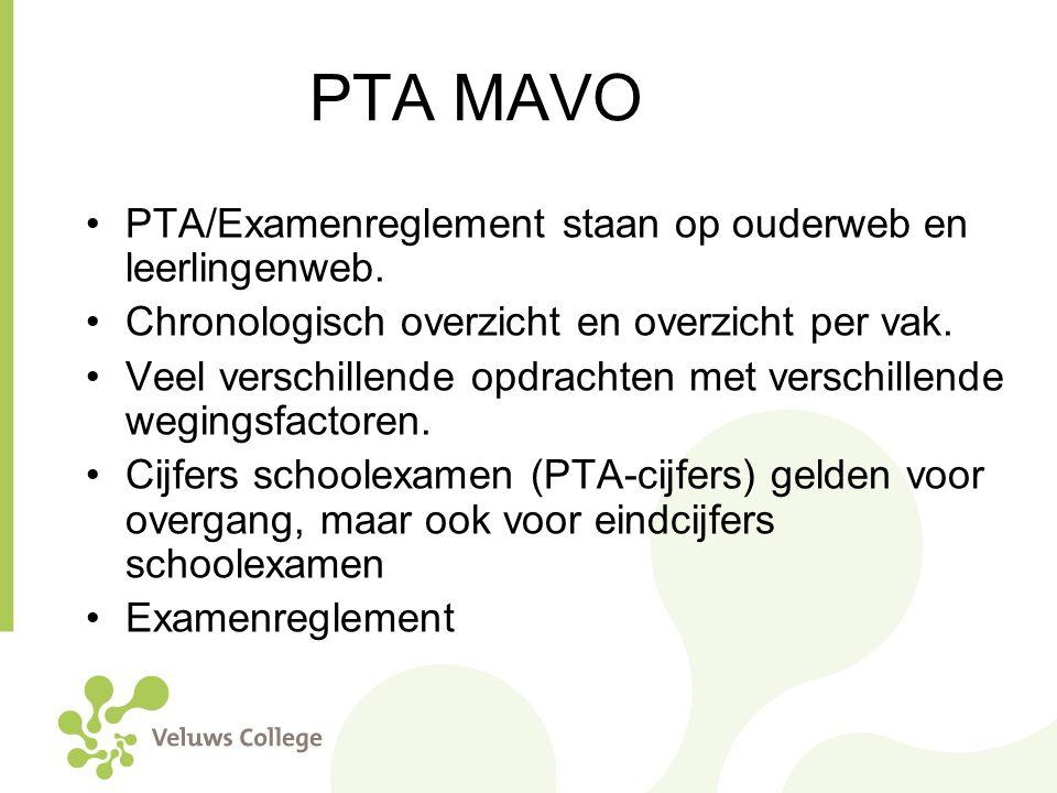PTA MAVO PTA/Examenreglement staan op ouderweb en leerlingenweb. Chronologisch overzicht en overzicht per vak. Veel verschillende opdrachten met versc