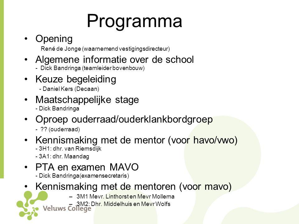 Programma Opening René de Jonge (waarnemend vestigingsdirecteur) Algemene informatie over de school - Dick Bandringa (teamleider bovenbouw) Keuze bege