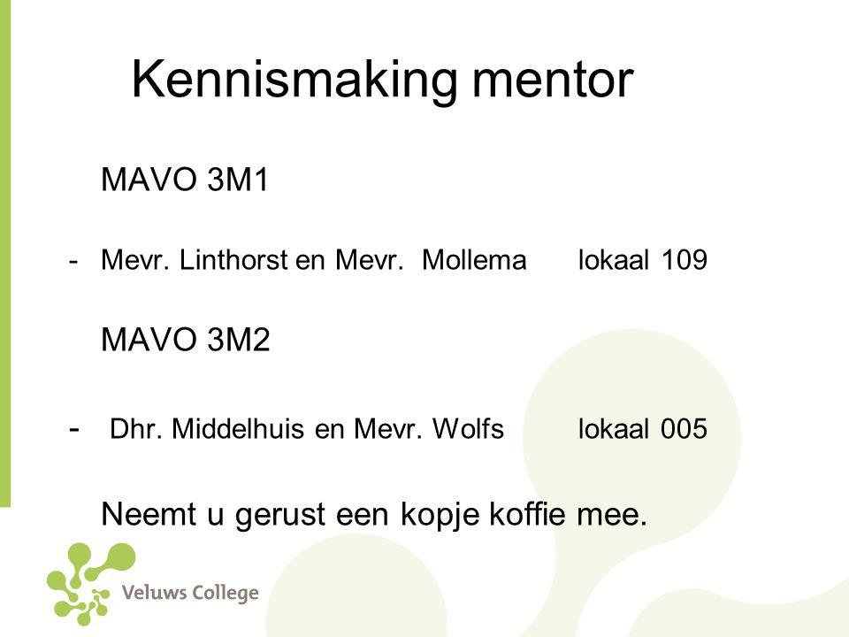 Kennismaking mentor MAVO 3M1 -Mevr. Linthorst en Mevr. Mollema lokaal 109 MAVO 3M2 - Dhr. Middelhuis en Mevr. Wolfs lokaal 005 Neemt u gerust een kopj