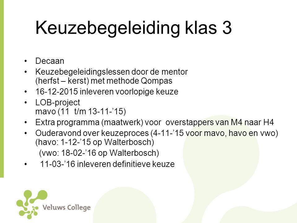 Keuzebegeleiding klas 3 Decaan Keuzebegeleidingslessen door de mentor (herfst – kerst) met methode Qompas 16-12-2015 inleveren voorlopige keuze LOB-pr