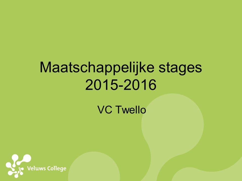 Maatschappelijke stages 2015-2016 VC Twello