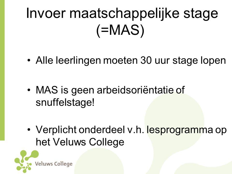 Invoer maatschappelijke stage (=MAS) Alle leerlingen moeten 30 uur stage lopen MAS is geen arbeidsoriëntatie of snuffelstage! Verplicht onderdeel v.h.