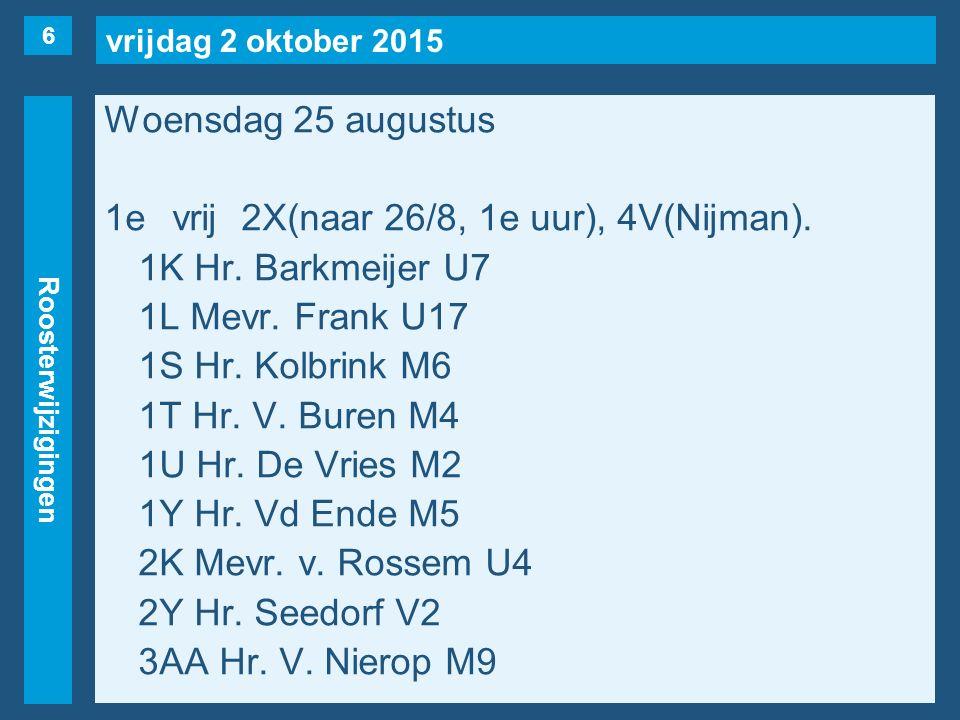 vrijdag 2 oktober 2015 Roosterwijzigingen Woensdag 25 augustus Vervolg 1e uur: 4H(Hr.