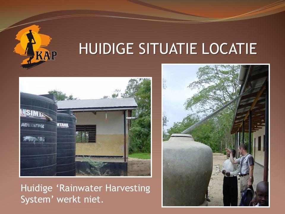 HUIDIGE SITUATIE LOCATIE Huidige 'Rainwater Harvesting System' werkt niet.