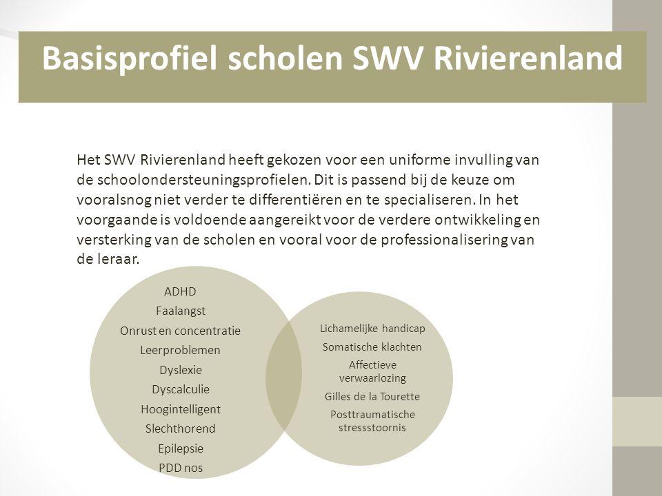 Het SWV Rivierenland heeft gekozen voor een uniforme invulling van de schoolondersteuningsprofielen. Dit is passend bij de keuze om vooralsnog niet ve