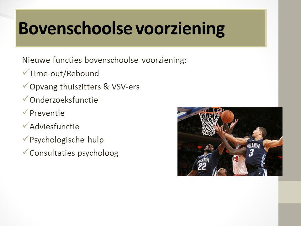 Bovenschoolse voorziening Nieuwe functies bovenschoolse voorziening: Time-out/Rebound Opvang thuiszitters & VSV-ers Onderzoeksfunctie Preventie Advies
