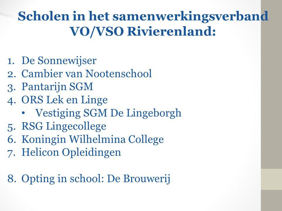 Scholen in het samenwerkingsverband VO/VSO Rivierenland: 1.De Sonnewijser 2.Cambier van Nootenschool 3.Pantarijn SGM 4.ORS Lek en Linge Vestiging SGM